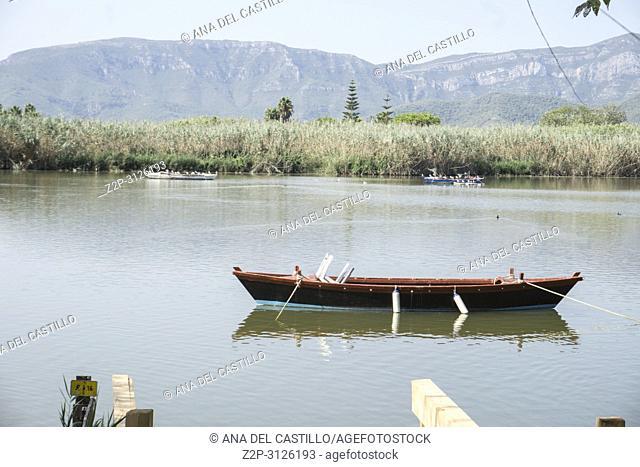 Fishing boats in L Estany a lake in Cullera Valencia province Spain