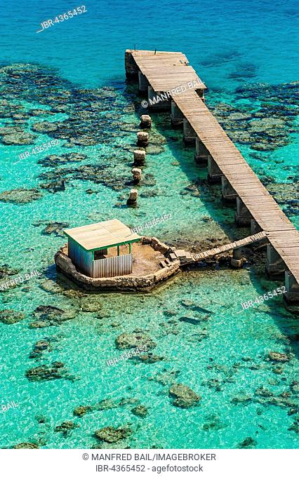 Jetty at the lighthouse on the Sanganeb Atoll, Marine Reserve Bur Sudan, UNESCO World Heritage Site, Sudan