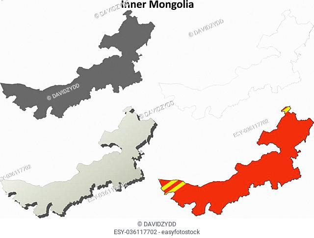 Inner Mongolia blank detailed outline map set