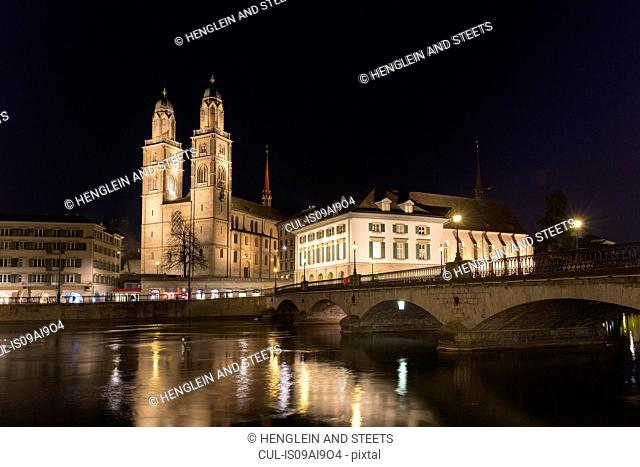 Limmat river, Grossmunster church, Helmhaus, Munster bridge, Zurich, Switzerland