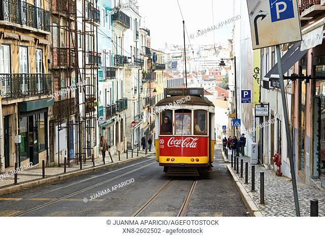 Tramcar in Lisbon, Portugal, Europe