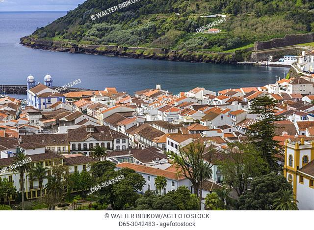 Portugal, Azores, Terceira Island, Angra do Heroismo, elevated town view with Igreja da Misericordia church