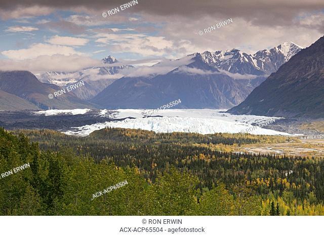 The Matanuska Glacier from the scenic viewpoint along the Glenn Highway in Matanuska Glacier State Recreation Site, Alaska, United States of America