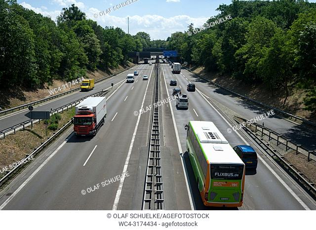 31. 05. 2017, Berlin, Germany, Europe - An elevated view of the traffic on the federal motorway A115 between Steglitz-Zehlendorf and Wannsee