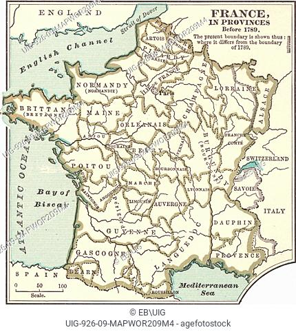 Provinces Of France Map In English.Province France French Revolution Stock Photos And Images Age