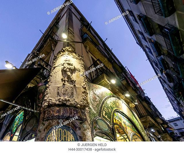 Spain, Catalonia, Catalunya, Barcelona, La Ramblas, Pasteleria Escriba, Pastry Shop, Art Deco