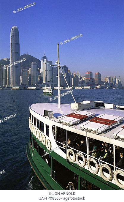 China, Hong Kong, Star Ferry and City Skyline