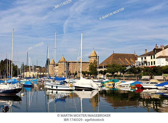 Morges harbour, Morges Castle at the back, canton of Vaud, Lake Geneva, Switzerland, Europe