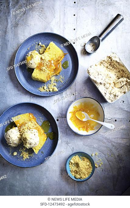 Brown bread ice cream with marmalade pudding