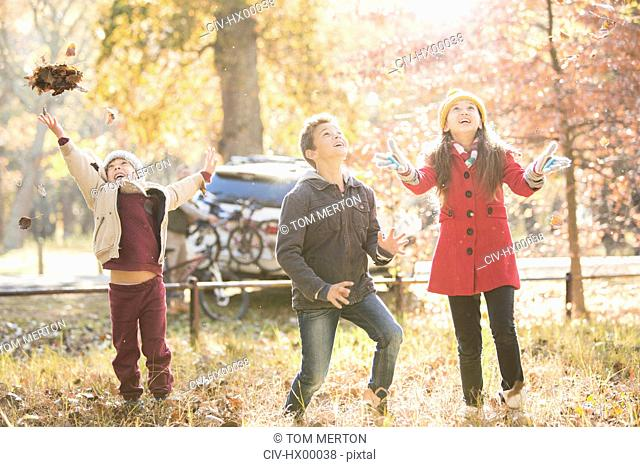 Boys and girl throwing autumn leaves overhead in woods