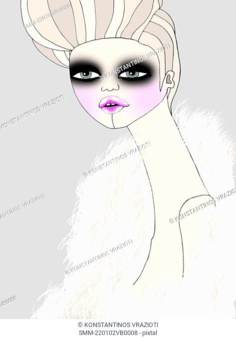 Woman with heavy makeup and feather boa
