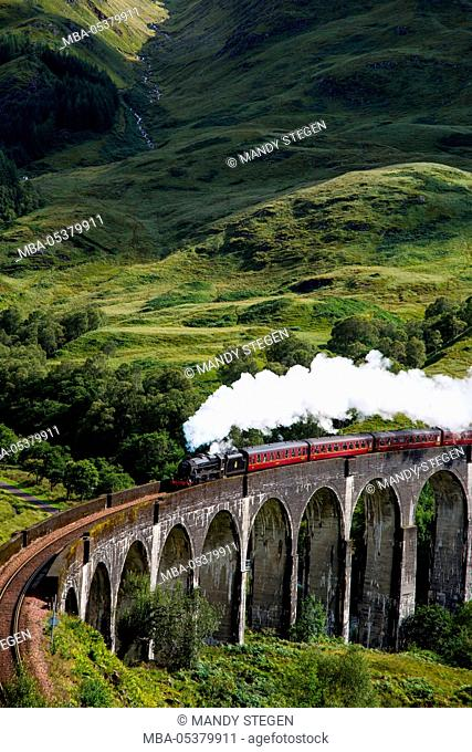 Train, 'Hogwarts Express' on the Glenfinnan viaduct