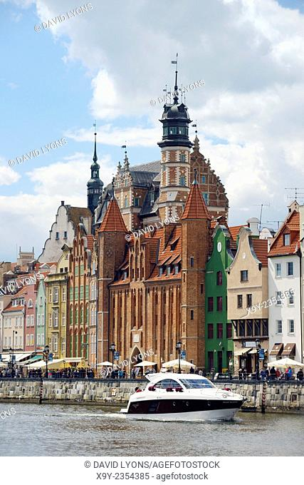 Gdansk Poland. Across the Motlawa River to the Mariacka Gate and waterfront buildings on the Dlugie Pobrzeze. Old Town