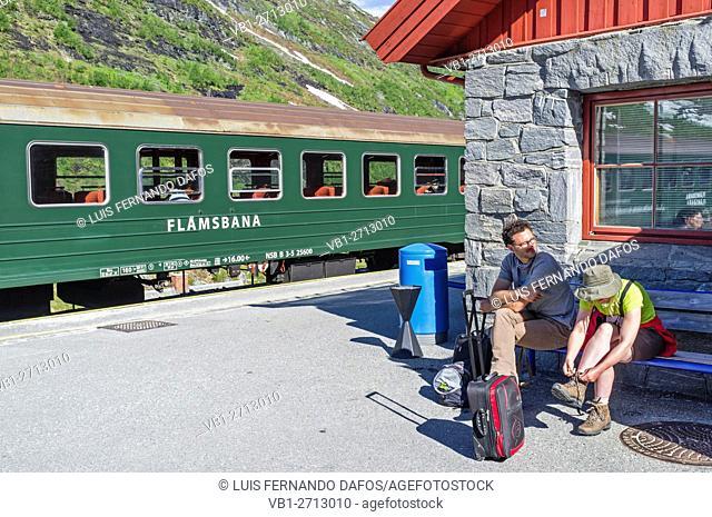 Flamsbana train and passengers at Myrdal train station, Norway