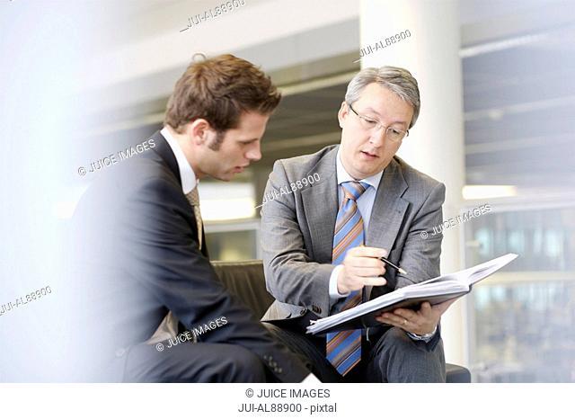 Businessmen discussing paperwork