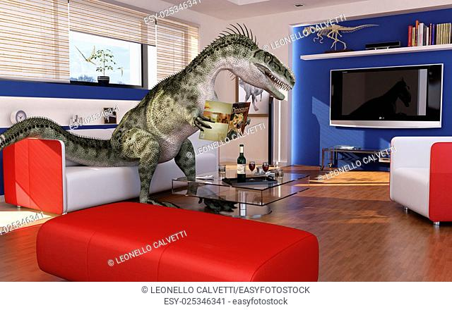 Modern livingroom with a theropod dinosaur, sitting on the sofa, reading a dinosaurs book. 3 D digital rendering
