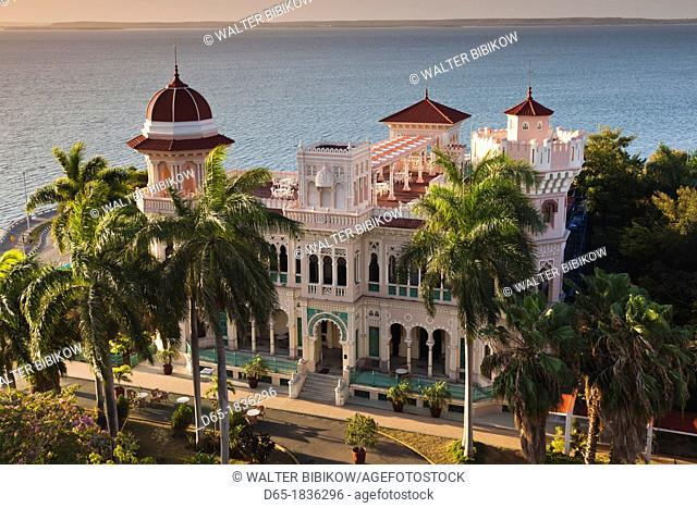 Cuba, Cienfuegos Province, Cienfuegos, Punta Gorda, Palacio de Valle, restored sugar baron house, elevated view