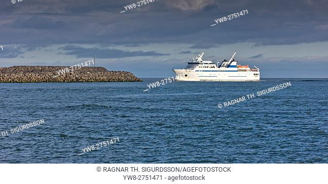 Herjolfur ferry by The harbour of Bakki ( Landeyjahofn) South Coast, Iceland
