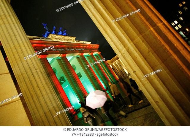 Different sight of the Door of Brandemburg during the celebration of the Festival of Lights of Berlin  Berlin, Germany, Europe