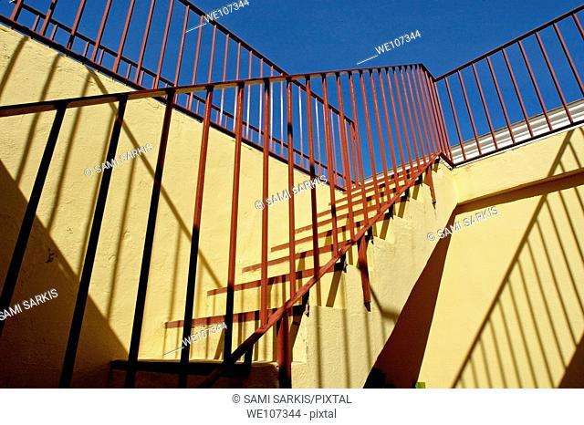 Staircase inside Plaza de Toros de Ronda, a bullring arena in Ronda, Andalusia, Spain