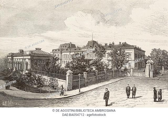 Palace of Knyaz Alexander in Sofia, Bulgaria, illustration by Tilly from L'Illustration, Journal Universel, No 2224, Volume LXXXVI, October 10, 1885