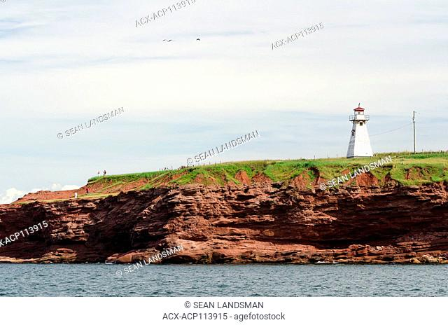 Cape Tryon Lighthouse, Cape Tryon, Prince Edward Island, Canada, cliffs, ocean