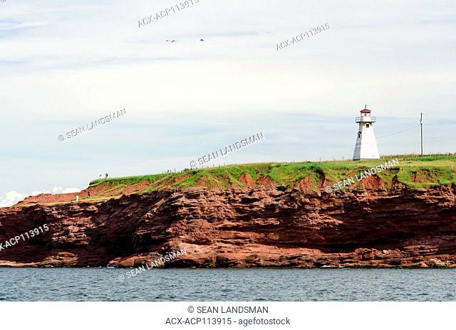 Cape Tryon Lighthouse, Cape Tryon, Prince Edward Island, Canada, cliffs, ocean