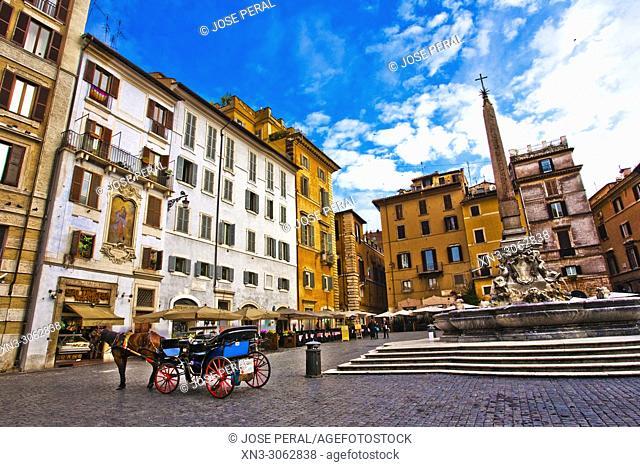 At right Fountain of the Pantheon, Fontana del Pantheon, Piazza della Rotonda square, Rome, Lazio, Italy, Europe