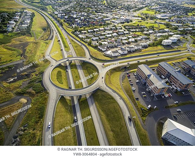 Aerial view of traffic circle and roads, Reykjavik area, Iceland