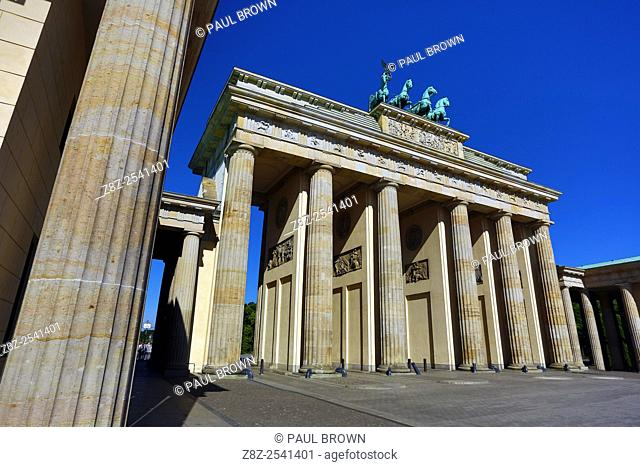 The Brandenburg Gate, Brandenburger Tor, neoclassical triumphant arch in Berlin, Germany