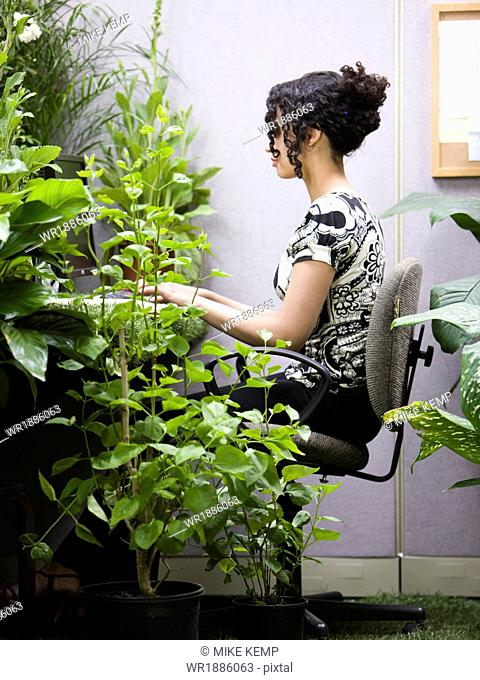 woman working in her green office