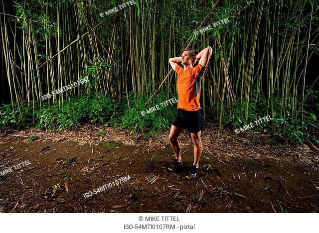 Runner standing in bamboo forest