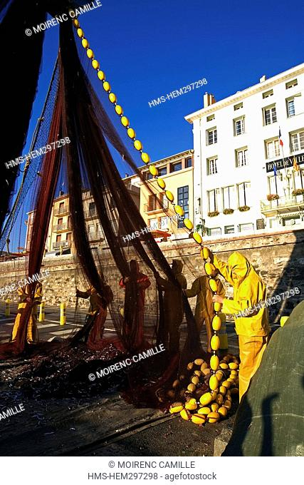 France, Pyrennees Orientales, Port Vendres, cleaning of the fishing nets after the Lamparo fishing