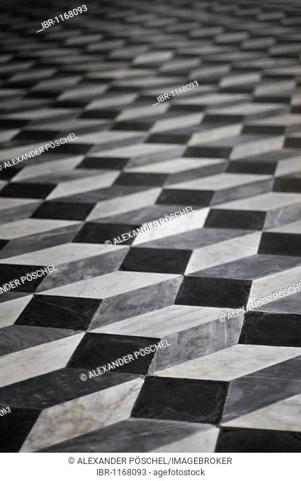 Optical illusion, floor, mosaic, Lateran Basilica, Basilica di San Giovanni in Laterano, historic city centre, Rome, Italy, Europe
