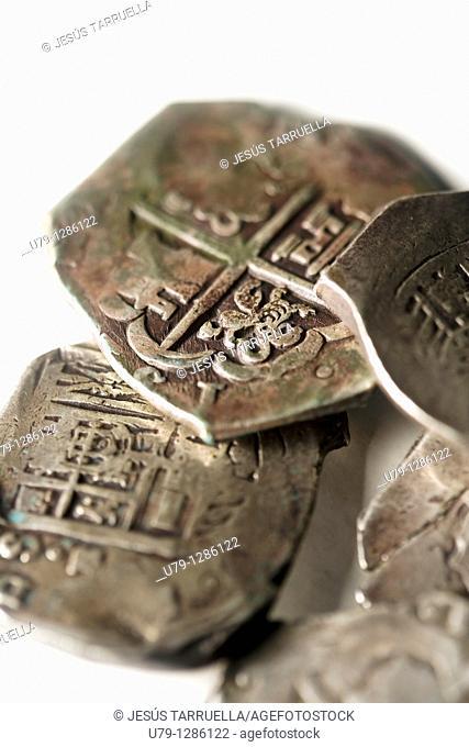 Still life of old coins