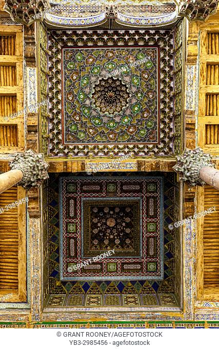 A Ceiling Panel At The Bolo Hauz Mosque, Bukhara, Uzbekistan