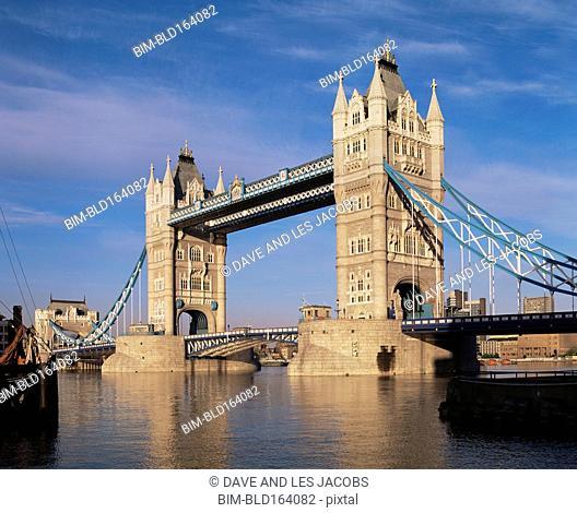 Tower Bridge over Thames river, London, Middlesex, United Kingdom
