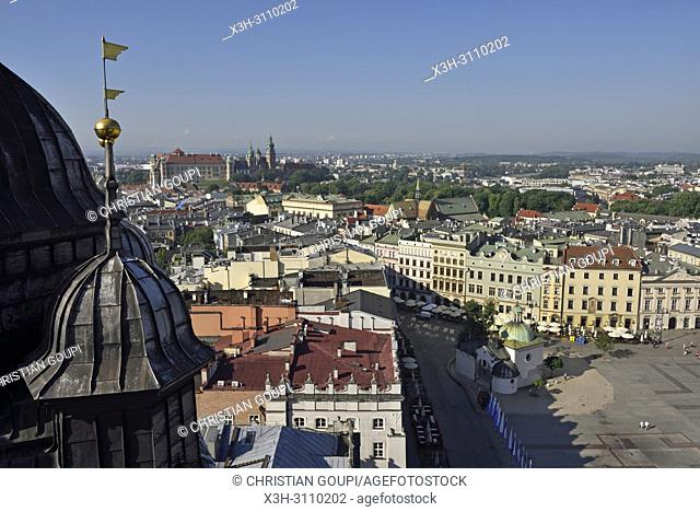view toward the Wawel Castle from the highest tower of the St. Mary's Basilica, Rynek Glowny, the main square of the Old Town of Krakow