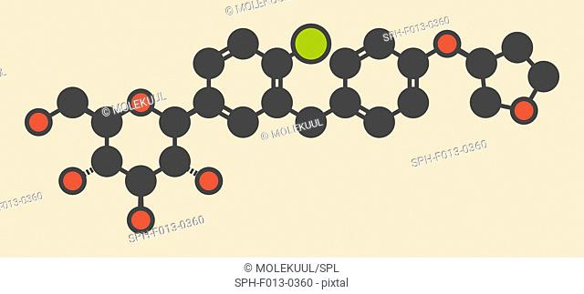 Empagliflozin diabetes drug molecule. Stylized skeletal formula (chemical structure). Atoms are shown as color-coded circles: hydrogen (hidden), carbon (grey)