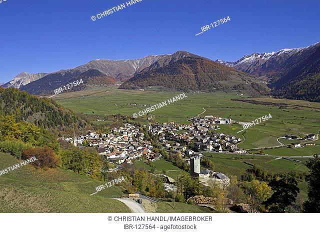 View of the village Burgeis with teh Fürsten castle, Upper Vinschgau, South Tyrol, Italy