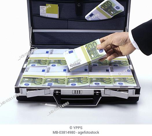 Suitcases, opened, bills, Euro,  focused, man, detail, hand, money bundle,  holding,  Series, money suitcases, Euro appearances, money, bills, money bundle
