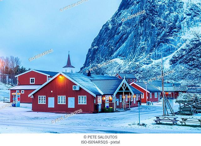 Buildings at dusk, Reine, Lofoten, Norway