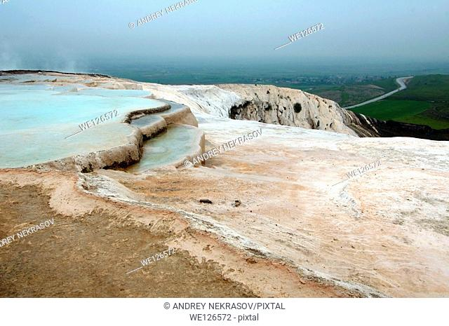 Travertine terrace formations, Pamukkale, Turkey, Western Asia