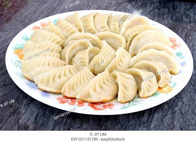 Plate of Potstickers Chinese Dumplings