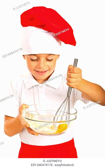 Chef boy mixing pizza dough isolated on white background
