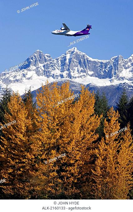 Fedex Jet Over Mendenhall Glacier Coast Mtns Southeast Alaska Composite Autumn Tongass Nat Forest