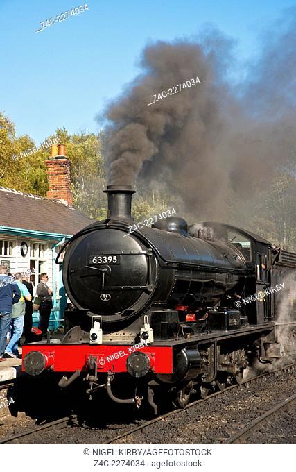 Steam Engine 63395 at Grosmont Railway Station North York Moors Railway North Yorkshire England UK Great Britain GB