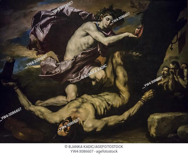 Capodimonte National Art Museum, Jusepe de Ribera painting Apollo and Marsyas, 1637, Naples, Italy