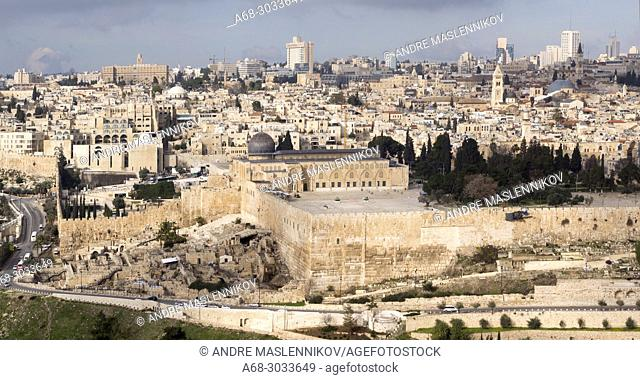 Al-Aqsa Mosque on the Temple Mount. The present site is dominated by three monumental structures from the early Umayyad period: the al-Aqsa Mosque
