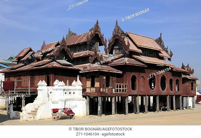 Myanmar, Burma, Nyaungshwe, Shwe Yaughwe Kyaung wooden monastery, ordination hall